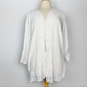 Vtg white cutwork embroidery lace kimono L